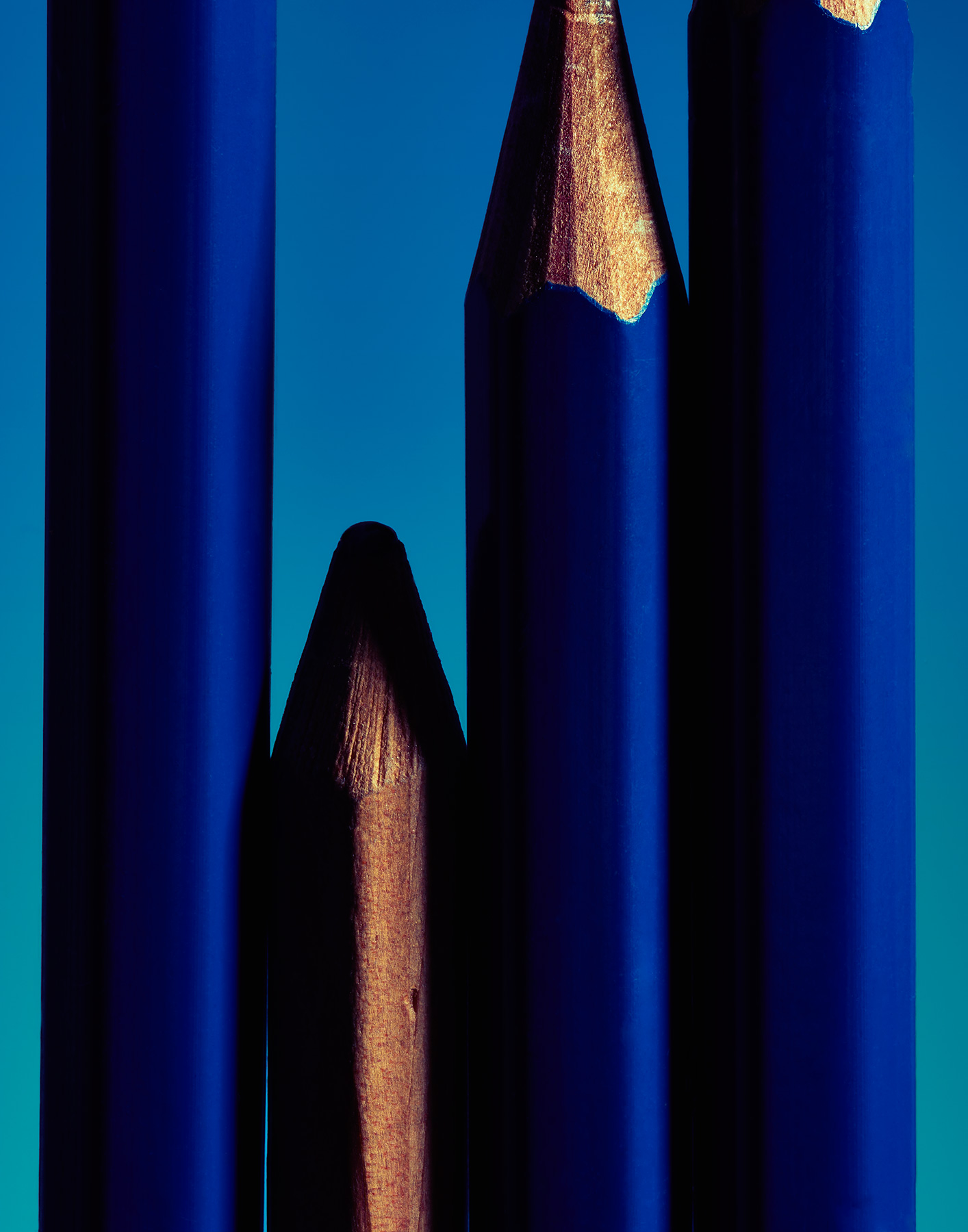 Blue Pencils on Blue background  by Ted Cavanaugh