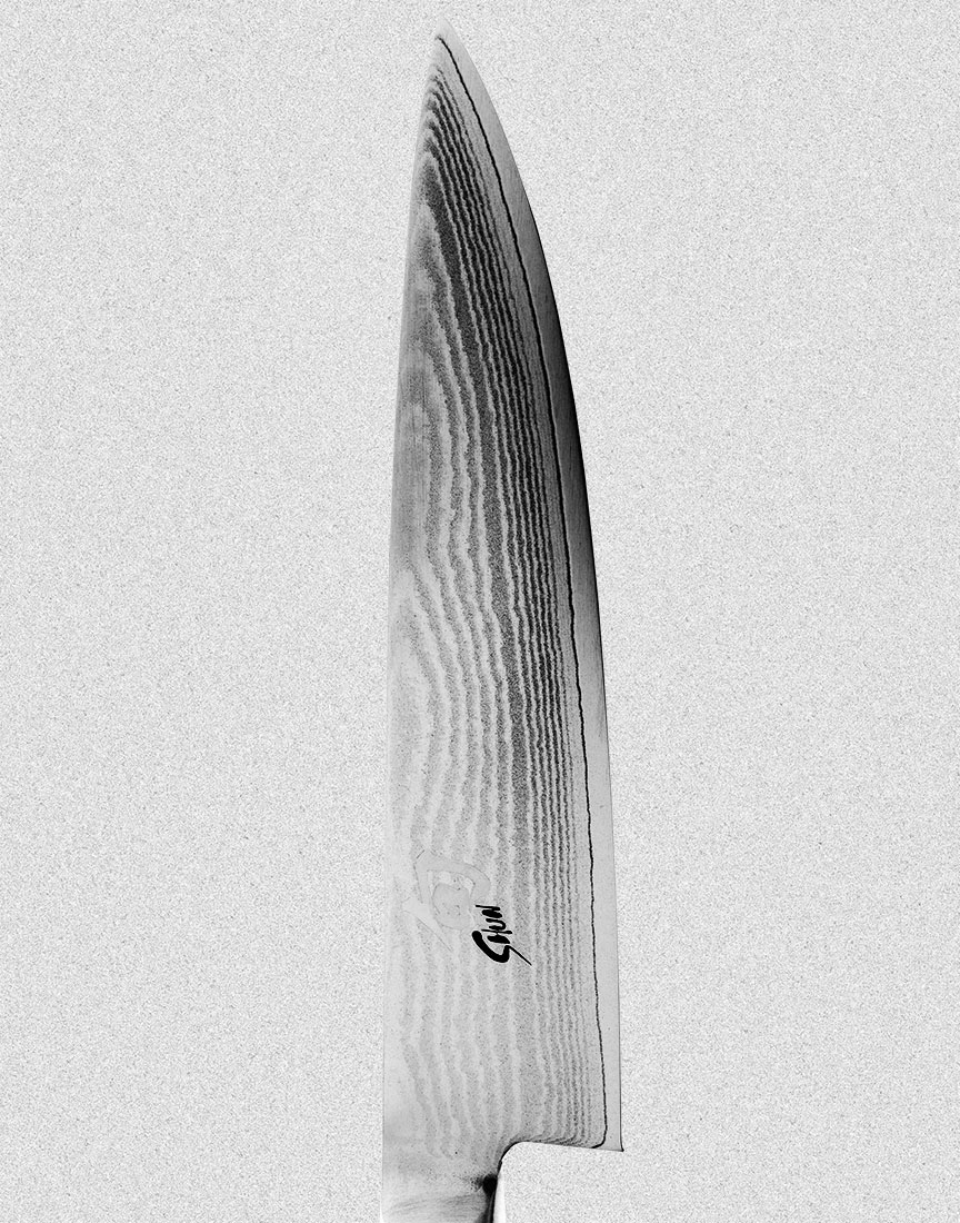 contrasty shun knife on grey background  by Ted Cavanaugh